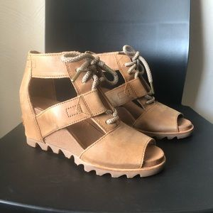 sorel tan leather joanie lace wedge sandal